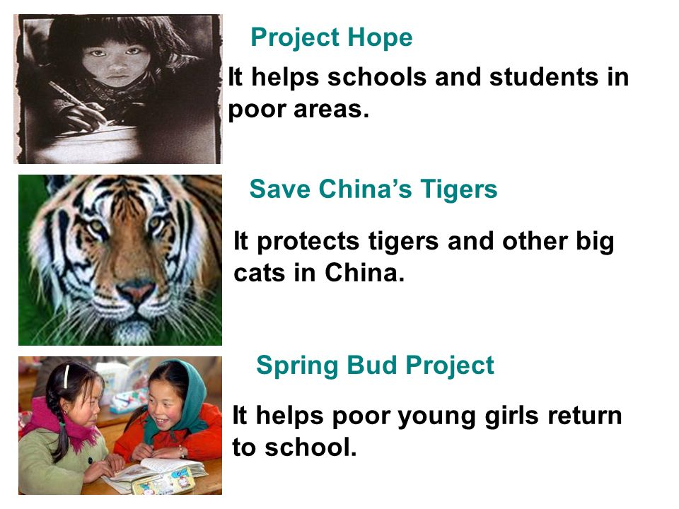 Project Hope It helps schools and students in poor areas.