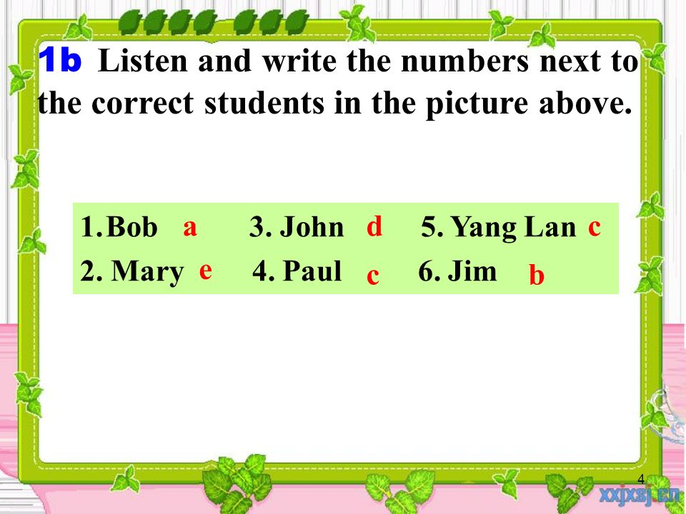 4 1.Bob 3. John 5. Yang Lan 2. Mary 4. Paul 6.