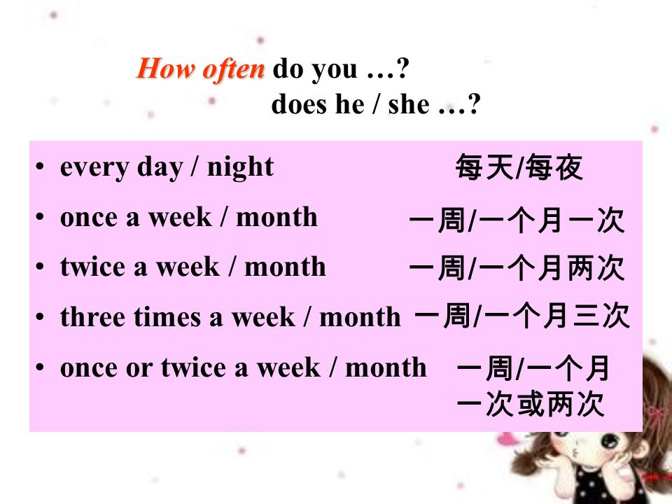 How often How often do you …. does he / she ….
