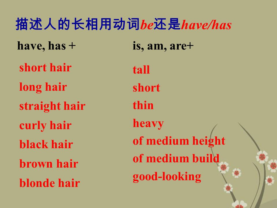 short hair long hair straight hair curly hair black hair brown hair blonde hair tall short thin heavy of medium height of medium build good-looking have, has +is, am, are+ 描述人的长相用动词 be 还是 have/has