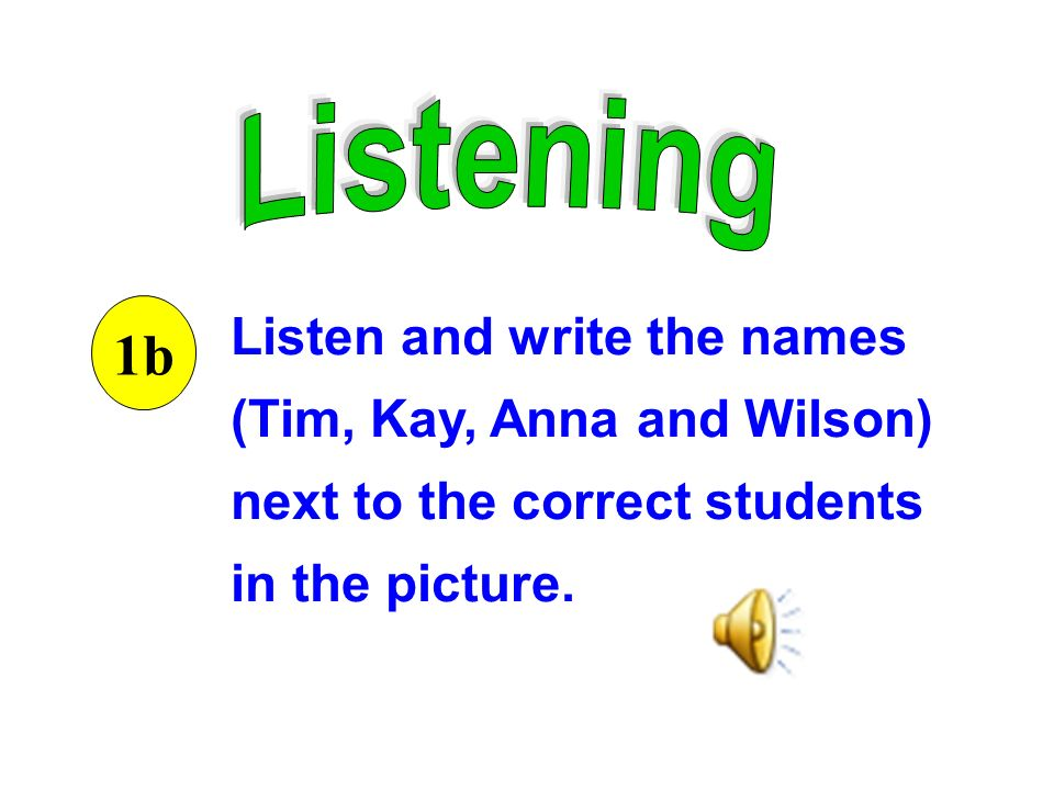 Listen and write the names (Tim, Kay, Anna and Wilson) next to the correct students in the picture.