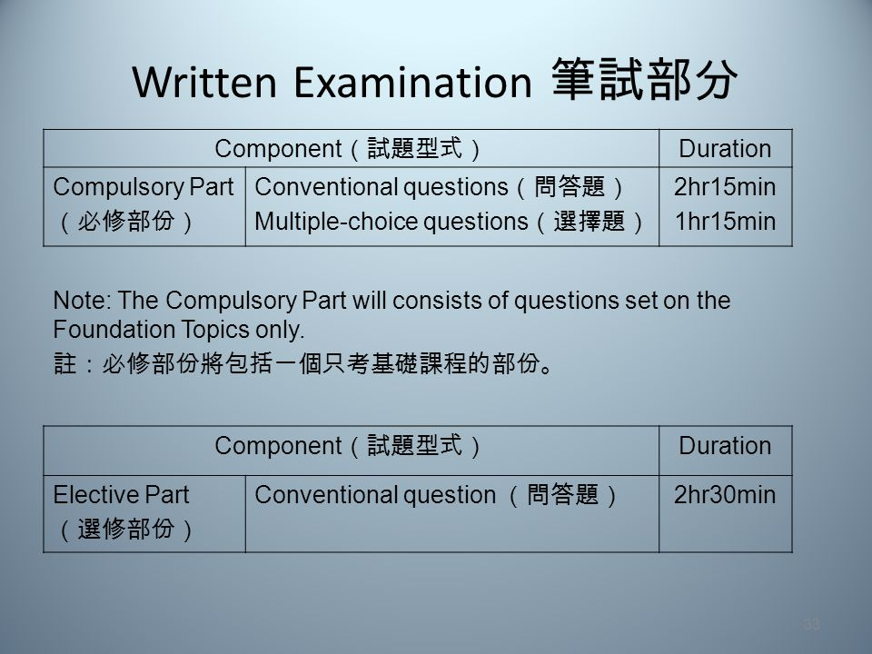 33 Written Examination 筆試部分 Component (試題型式) Duration Elective Part (選修部份) Conventional question (問答題) 2hr30min Component (試題型式) Duration Compulsory Part (必修部份) Conventional questions (問答題) Multiple-choice questions (選擇題) 2hr15min 1hr15min Note: The Compulsory Part will consists of questions set on the Foundation Topics only.