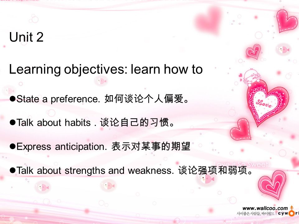 Unit 2 Learning objectives: learn how to State a preference.