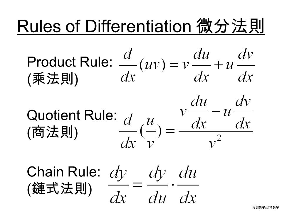 附加數學 / 純粹數學 Rules of Differentiation 微分法則 Product Rule: (乘法則) Quotient Rule: (商法則) Chain Rule: (鏈式法則)