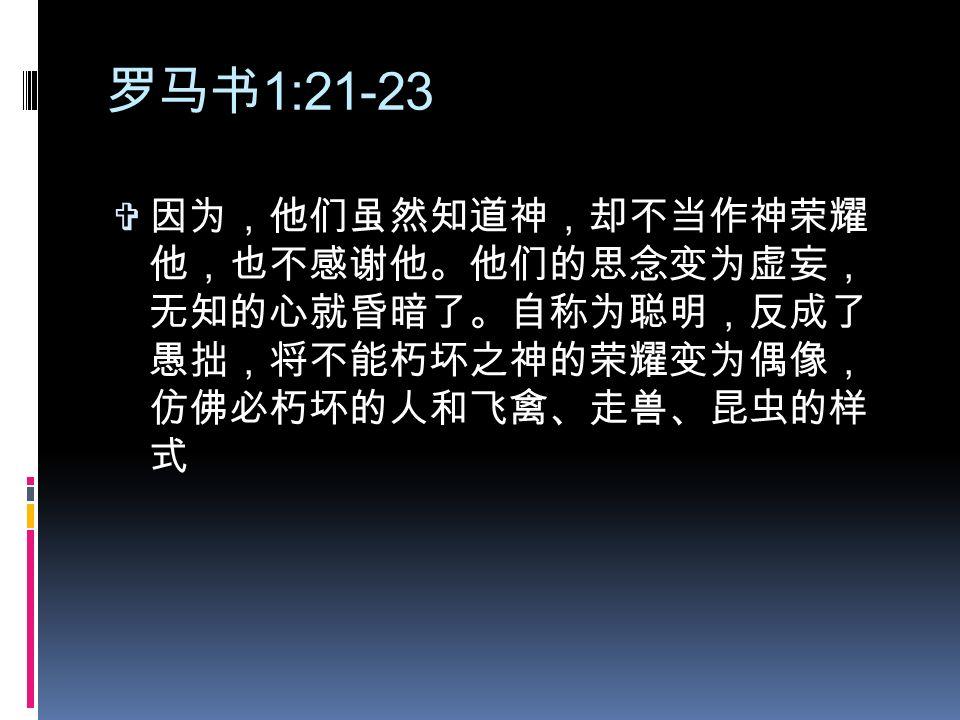 """Image result for """"他们虽然知道神,却不当作神荣耀他,也不感谢他。他们的思念变为虚妄,无知的心就昏暗了。 自称为聪明,反成了愚拙, 将不能朽坏之神的荣耀变为偶像,仿佛必朽坏的人和飞禽、走兽、昆虫的样式。"""" (罗 1:21-23)"""