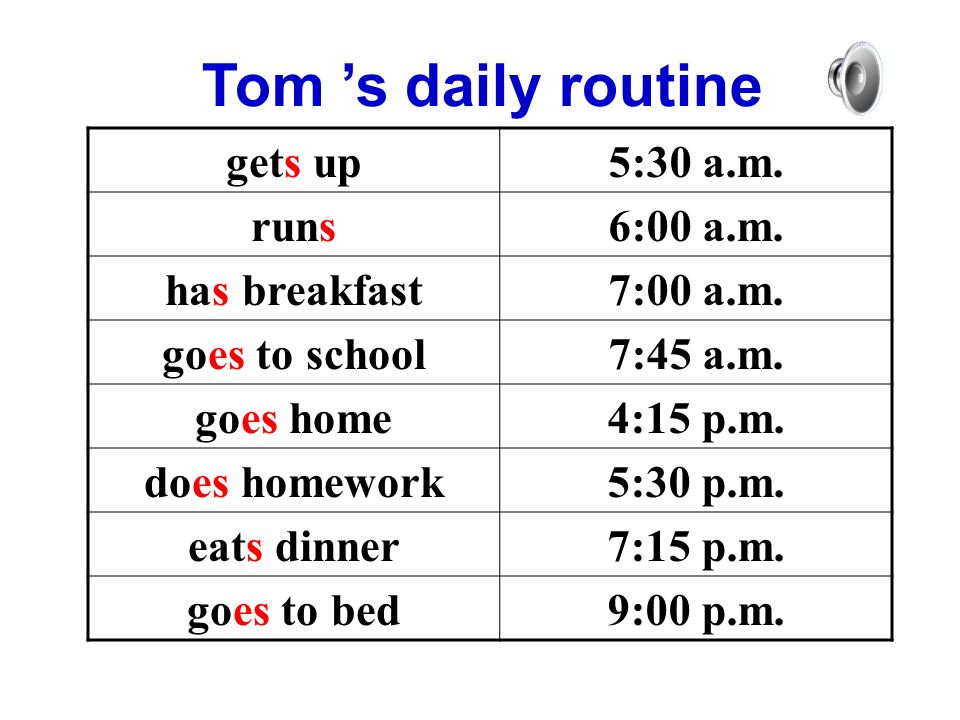 Tom 's daily routine gets up5:30 a.m. runs6:00 a.m.