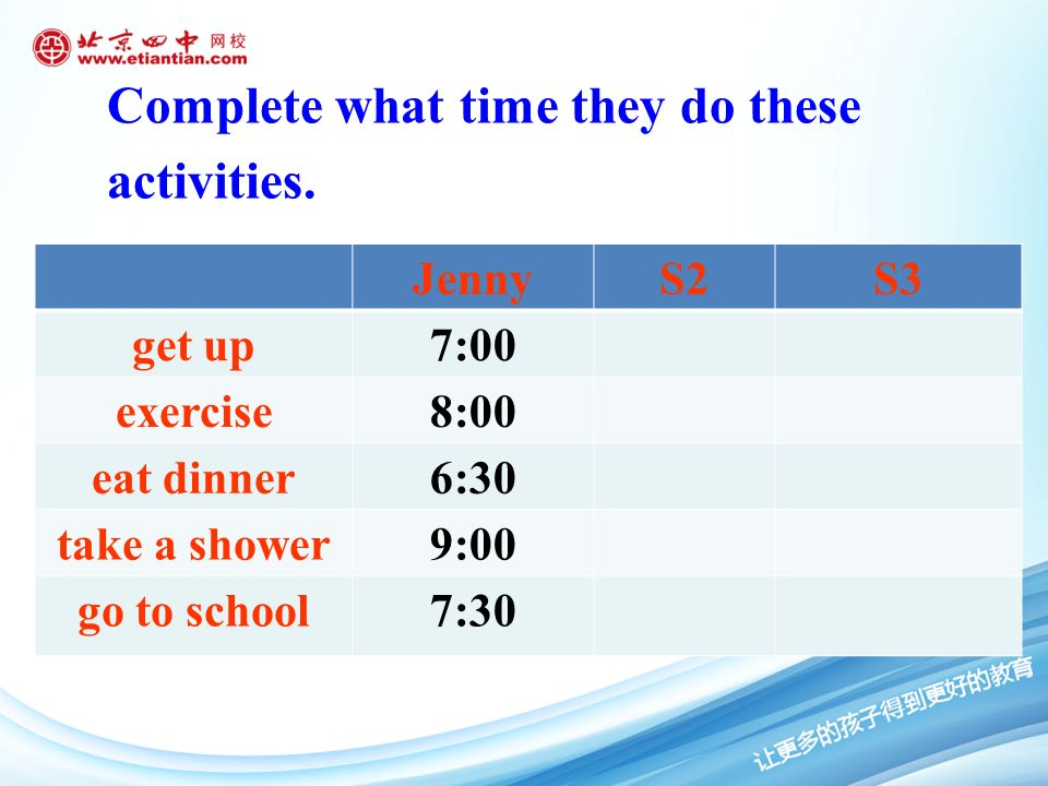 Complete what time they do these activities.