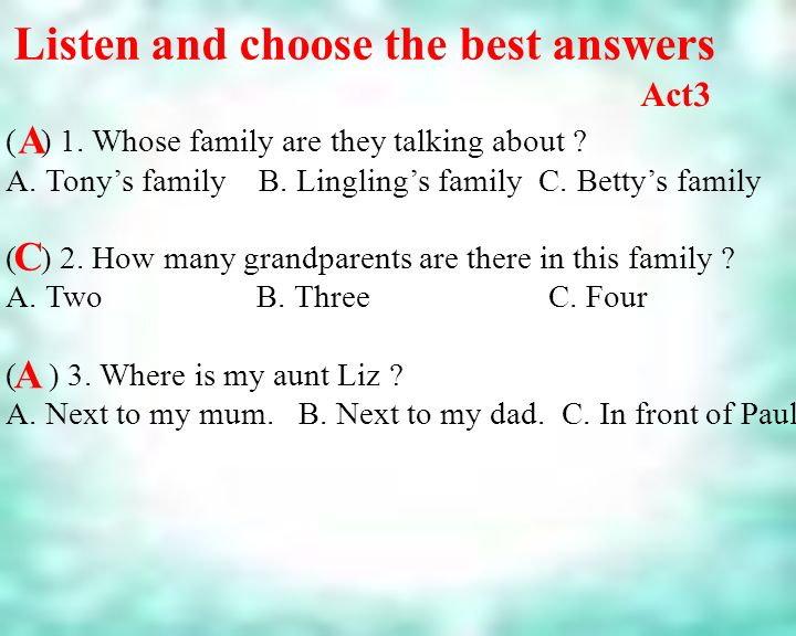 Listen and choose the best answers ( ) 1. Whose family are they talking about .