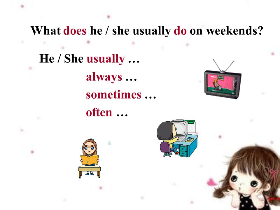 What does he / she usually do on weekends He / She usually … always … sometimes … often …