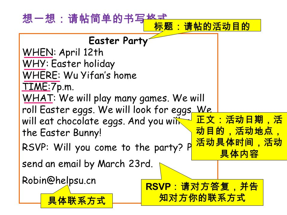 Easter Party WHEN: April 12th WHY: Easter holiday WHERE: Wu Yifan's home TIME:7p.m.